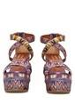 Missoni Dolgu Topuklu %100 Deri Sandalet Renkli